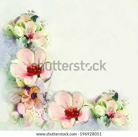 Greeting vintage card with bright spring flowers - stock photo
