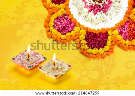 Greetings Card Design Indian Hindu Light Festival called Diwali