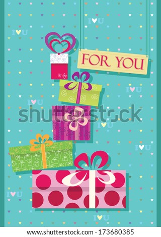 greetings card for shopping lovers. Stack of gifts and purchases. raster version. - stock photo