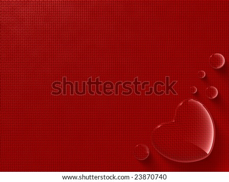 Greetings card with heart-shaped water drop - stock photo