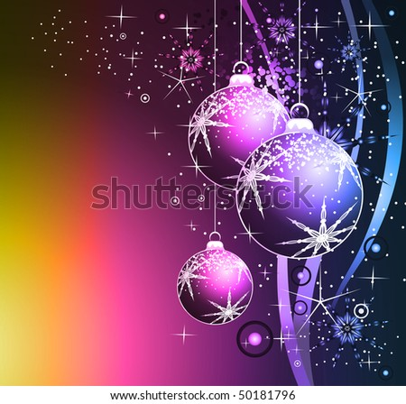 Greetings Colorful Background with Various Christmas Balls