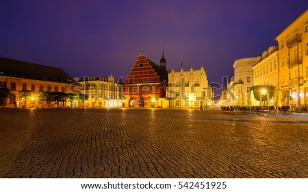 GREIFSWALD, GERMANY - MAY 25, 2016: Streets of historical center, view of the old part of the city, Mecklenburg-Vorpommern, Germany