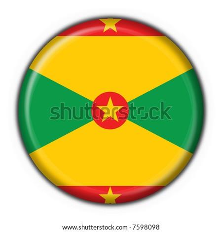 grenada button flag round shape - stock photo