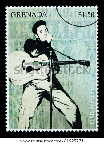 GRENADA - CIRCA 2000: A postage stamp printed in Grenada showing Elvis Presley, circa 2000 - stock photo