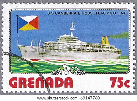 GRENADA - CIRCA 1976: A stamp printed in Grenada shows S.S. Canberra and P. O. Line flag, series is devoted to ships, circa 1976 - stock photo