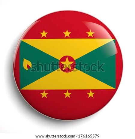 Grenada flag icon. Clipping path included. - stock photo
