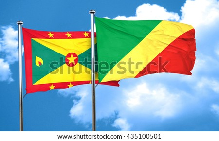 Grenada flag with congo flag, 3D rendering