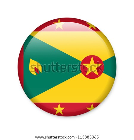 Grenada - glossy button with flag - stock photo