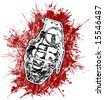 Grenade with splattered blood - stock photo