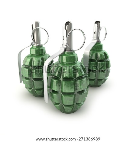 Grenades F-1 on a white background - stock photo