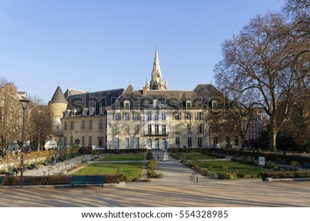 GRENOBLE, FRANCE, December 28, 2016 : Hotel of Lesdiguieres is a historic building built in 1602, in front of the City Garden. A place of power in Dauphine, it was mansion of the duke of Lesdiguieres.