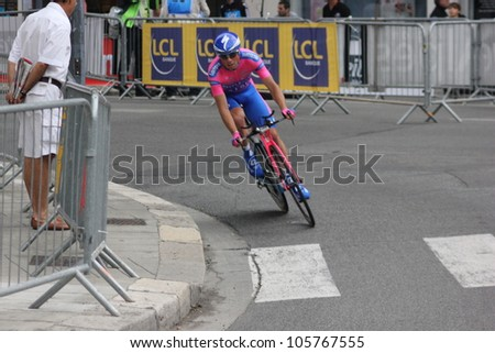 GRENOBLE, FRANCE - JUN 3: Professional racing cyclist Daniele Pietropolli rides UCI WORLD TOUR CRITERIUM DU DAUPHINE LIBERE time trial on June 3, 2012 in Grenoble France. Luke Durbridge wins the stage - stock photo