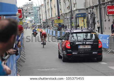 """GRENOBLE, FRANCE - JUN 3: Professional racing cyclist Philippe Gilbert rides UCI WORLD TOUR """"CRITERIUM DU DAUPHINE LIBERE"""" time trial on June 3, 2012 in Grenoble, France. Luke Durbridge wins the stage - stock photo"""