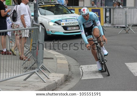 GRENOBLE, FRANCE - JUN 3: Professional racing cyclist Stijn Vandenbergh rides UCI WORLD TOUR CRITERIUM DU DAUPHINE LIBERE time trial on June 3, 2012 in Grenoble, France. Luke Durbridge wins the stage - stock photo