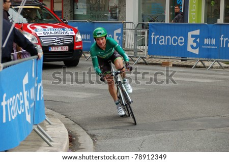 """GRENOBLE, FRANCE - JUN 8: Professional racing cyclist Thomas Voeckler rides UCI WORLD TOUR """" CRITERIUM DU DAUPHINE LIBERE"""" third stage time trial on June 8, 2011 in Grenoble city, Isere, France. - stock photo"""