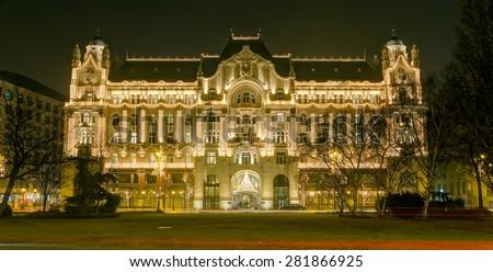 Gresham Palace at night, Budapest, Hungary - stock photo