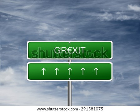 Grexit crisis euro currency Greece exit greek storm sign. - stock photo