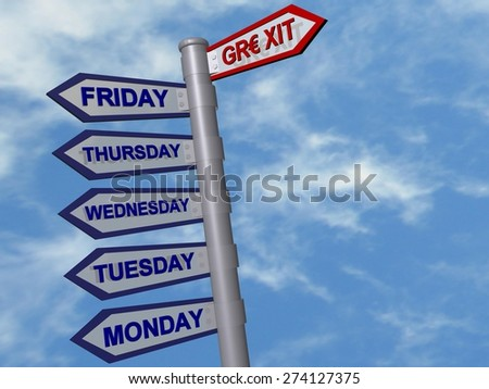 Grexit crisis weekend  - road sign - stock photo