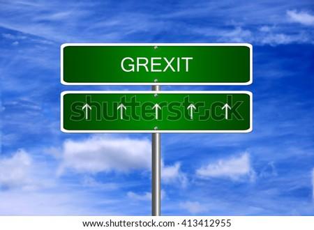 Grexit greek debt crisis euro Greece drachma eurozone exit. - stock photo