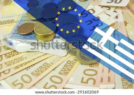 grexit, money, euro, flags european  greek - stock photo