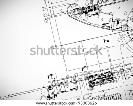 Grey abstract background. Architectural theme. Working drawings - stock photo