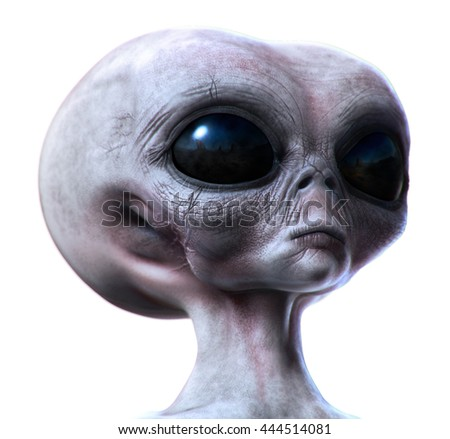 Grey alien concept cg rendering and painting isolated on white. 3d render illustration