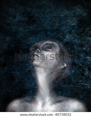 Grey Alien looks toward the sky on a dark night. Stylized conceptual illustration of a group of hybrid Greys looking up in anticipation. Grunge textured Original illustration - stock photo
