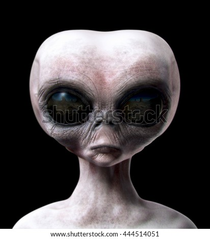 Grey alien portrait front view isolated on black 3d render illustration
