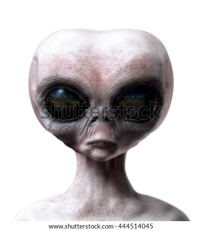 Grey alien portrait front view isolated on white 3d render illustration