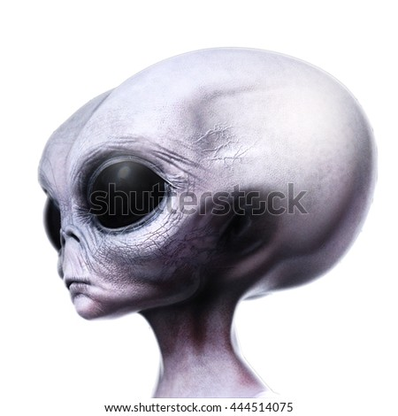 Grey alien portrait side view looking as though he is reasoning 3d render illustration