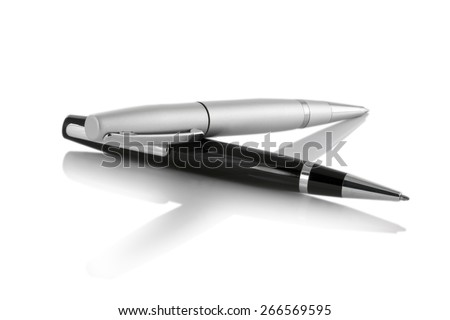 grey and black pen on isolated white background