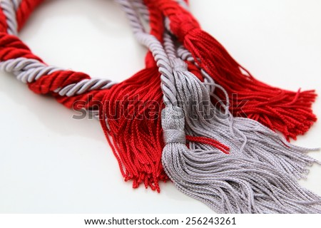 grey and red ropes with tassel isolated on white - stock photo