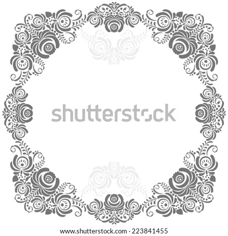 grey and white vintage floral frame - stock photo