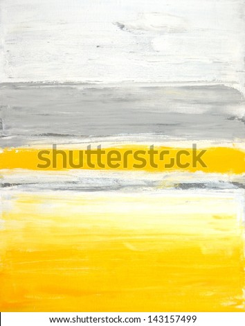Grey and Yellow Abstract Art Painting - stock photo