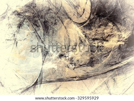 Grey and yellow color grunge pattern. Abstract vintage scratch background. Modern futuristic template for creative graphic design. Fractal art - stock photo