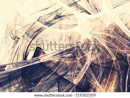 Grey and yellow color Halloween pattern. Abstract background with light smoke. Modern futuristic template for creative graphic design. Fractal art. - stock photo