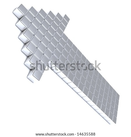 Grey arrow consisting of metal cubes on a white background