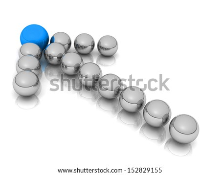 Grey arrow of the balls with the blue leader in front. On white background. Business and Sports concept  - stock photo