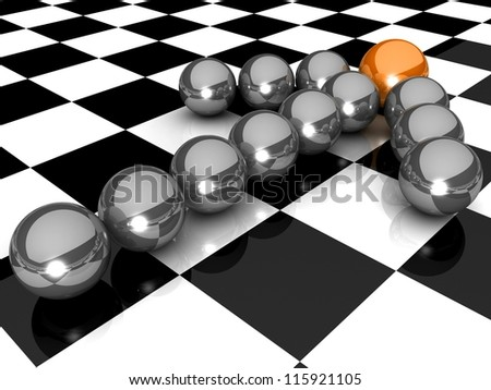 Grey arrow of the balls with the gold leader in front. At an abstract checkered background. Business and Sports concept