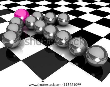 Grey arrow of the balls with the pink leader in front. At an abstract checkered background. Business and Sports concept