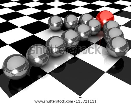 Grey arrow of the balls with the red leader in front. At an abstract checkered background. Business and Sports concept