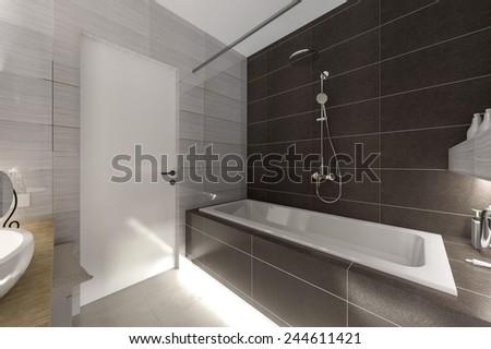 grey bathroom 3D rendering - stock photo