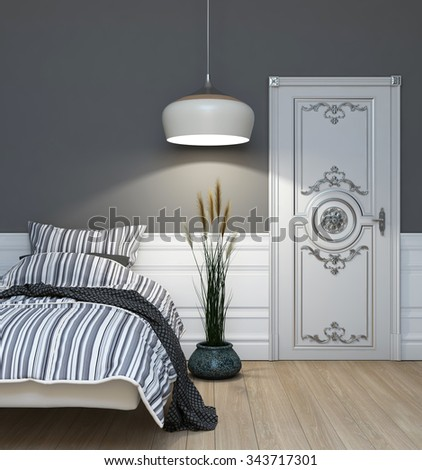 Grey Bedroom At Night Time 3d Rendering - stock photo