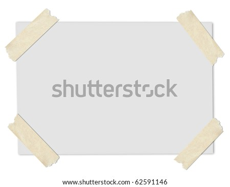 grey blank paper stuck with brown tape - stock photo