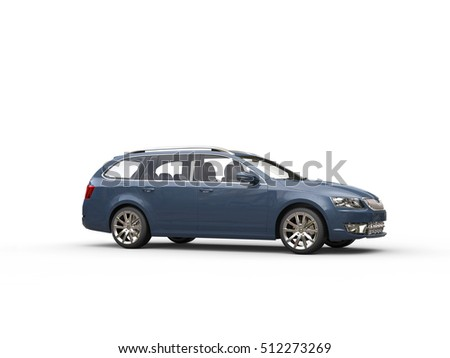 Grey blue family car - side view - 3D Render