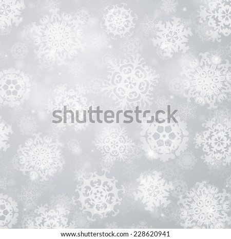 Grey blurry background with snowflakes. Raster version - stock photo
