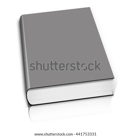 Grey book 3D rendering.  Isolated on white.