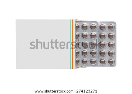 Grey box with brown pills in a blister pack on an isolated background - stock photo