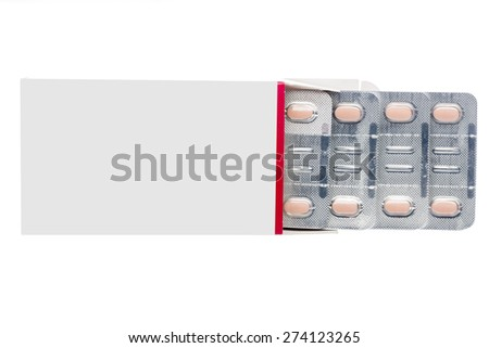 Grey box with pastel pills in a blister pack on an isolated background - stock photo