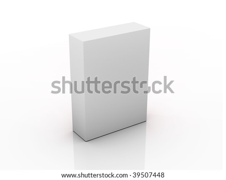 Grey box with reflection. 3d template - stock photo